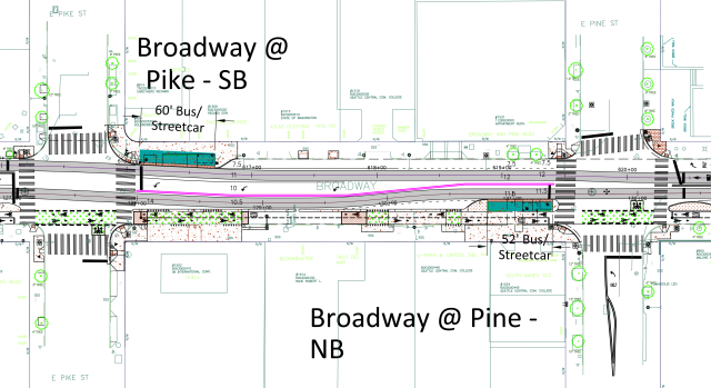 The layout of Broadway between Pike Street and Pine Street, where turn lanes and curbside parking force the tracks to weave. (City of Seattle)