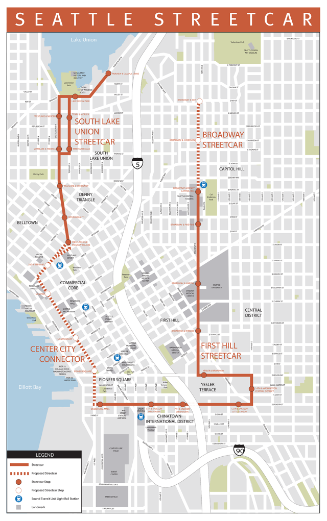 Map of the current and planned Seattle Streetcar network. (City of Seattle)