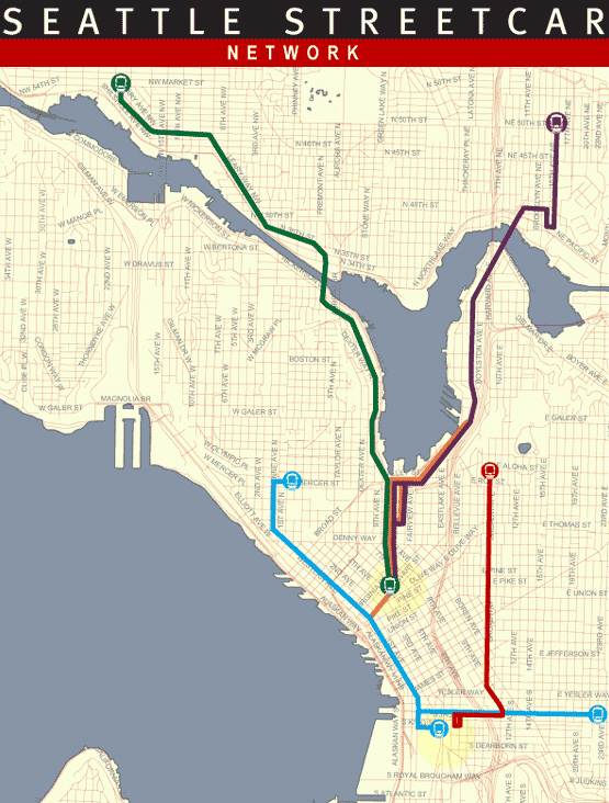 The 2008 Seattle Streetcar network map. (City of Seattle)