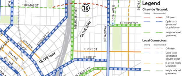 The Seattle Bike Master Plan's map of central Capitol Hill. (City of Seattle, edited by the author)