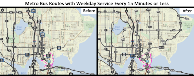 Northeast Seattle's frequent bus network before and after U-Link opens. (Source: King County Metro; Graphic: author)