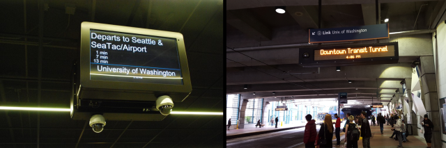 Left: Real-time arrival sign at UW Station. Right: static display at International District Station. (Left: The Urbanist; right: author)