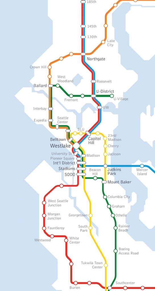 An unofficial conceptual vision of the light rail network in Seattle. (Seattle Subway)