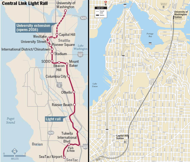 Central Link and the University Link extension. (Left: Dan Aguayo, Oregon Live; Right: Sound Transit)
