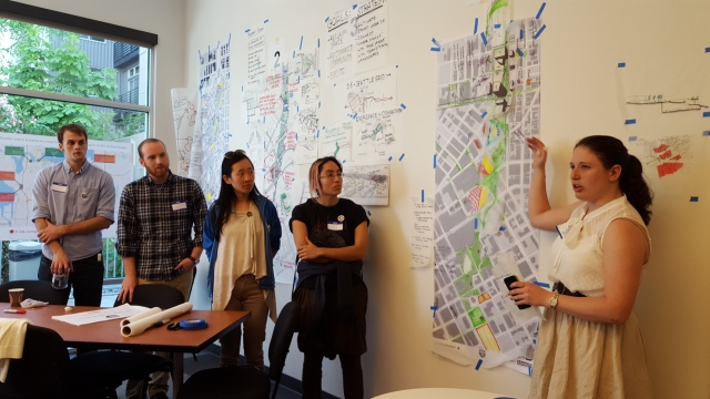 One of the charrette teams presents their work. (Photo by the author)