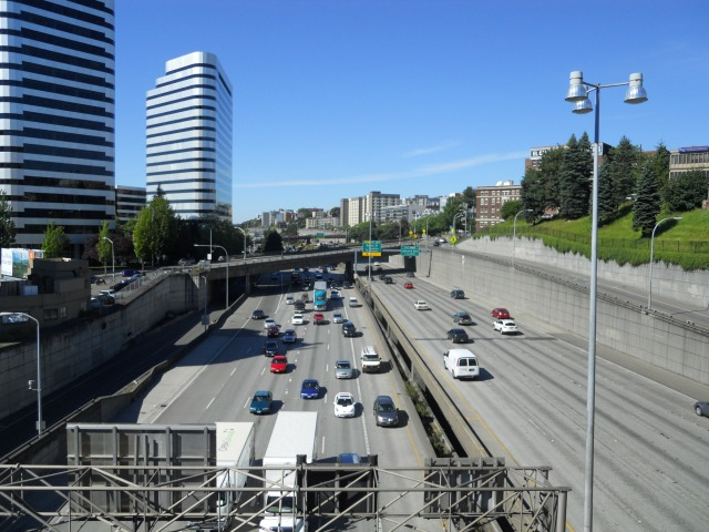 The Lid I-5 trench looking north from Pike Street. (Photo by the author)