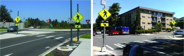 Left: Rapid flashing beacons at a roundabout on 84th Avenue NE in Medina. Right: rapid flashing beacons in Seattle on 15th Avenue NE at NE 55th Street. (Photos by the author)
