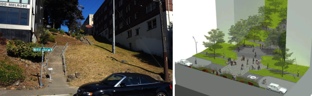 The Harrison Street stairs today (left: photo by the author) and a concept for the future (right: Melrose Promenade).