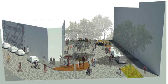 Concept for a festival street on Melrose Avenue between Pike and Pine Streets. The Melrose Market is the triangular building at left. (Melrose Promenade)
