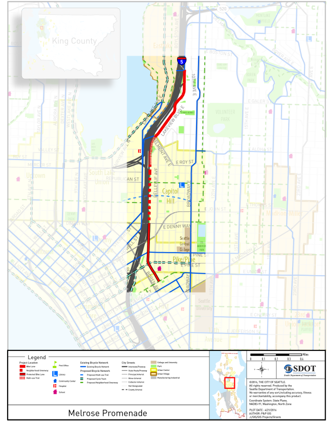 Map of the project area, with the bicycle facilities in red. (Seattle Department of Transportation)