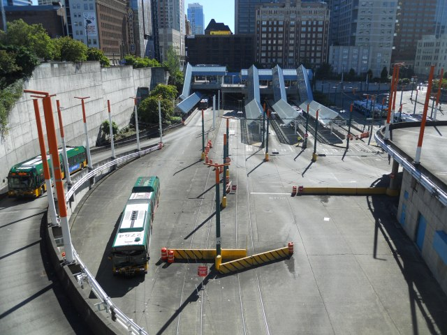 Convention Place Station, viewed from above at Boren Avenue. (Photo by the author)