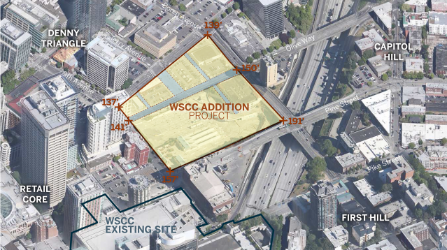 View showing the vicinity of the WSCC Addition. (Washington State Convention Center, LMN Architects